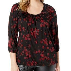 NWT Michael Kors Black Red Rose Top 2X
